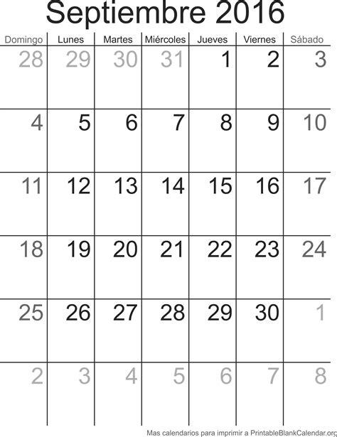 Calendario Es 2016 Septiembre 2016 Calendario Para Imprimir Calendarios