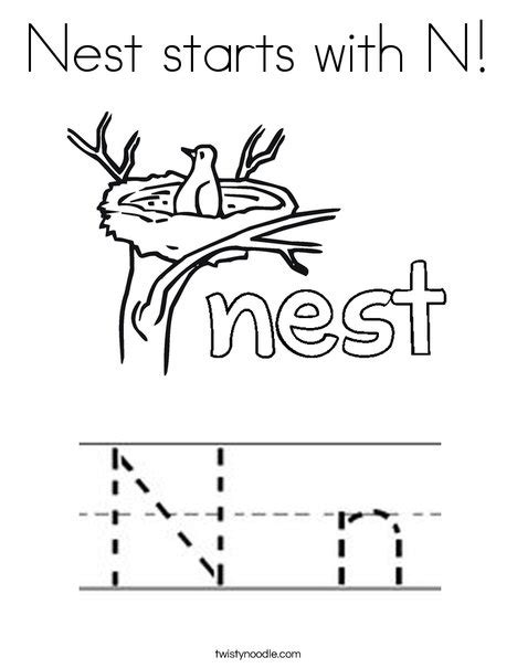 N For Nest Coloring Page by Nest Starts With N Coloring Page Twisty Noodle