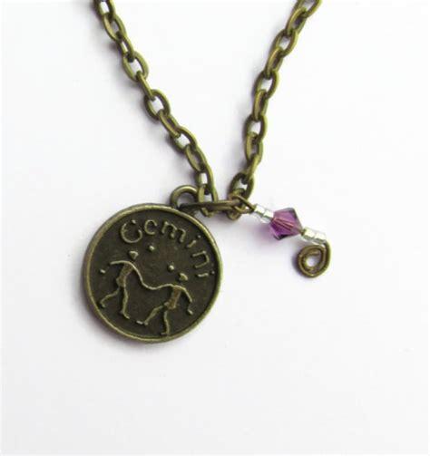 gemini birthstone necklace zodiac charm sun sign may or june