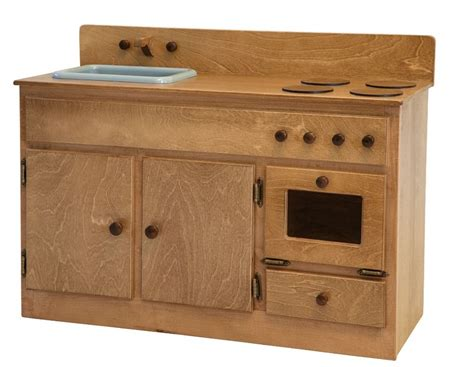 Handmade Wooden Play Kitchen - kitchen sink stove oven amish handmade wood play