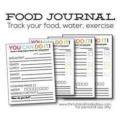 food and exercise journal template updated printable food journal