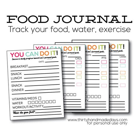 printable food fitness journal updated printable food journal