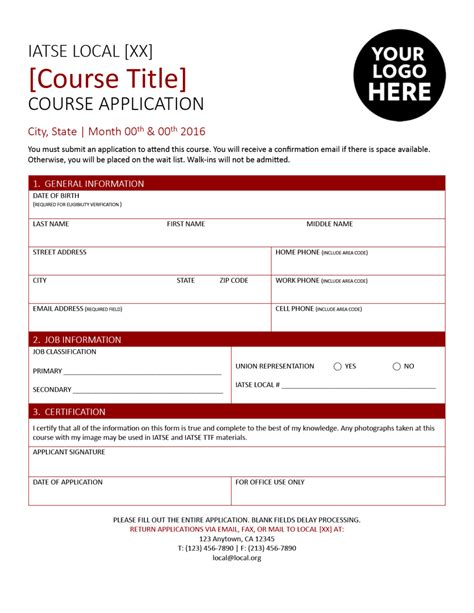 course application form template course templates iatse entertainment and exhibition