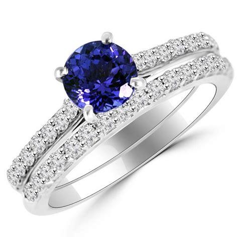 tanzanite matching engagement wedding ring set
