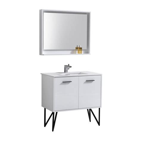 bathroom mirror and matching cabinet bosco 36 quot high gloss white vanity w quartz countertop and