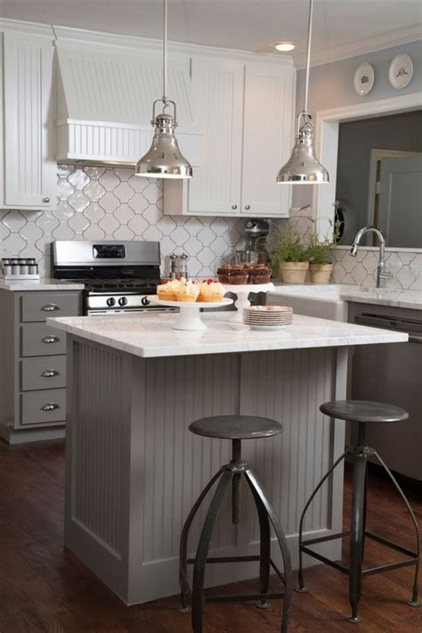 Hgtv Kitchen Island Ideas As Seen On Hgtv S Quot Fixer Quot The Gray Beadboard On The Island Kitchen Pinterest