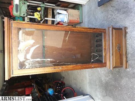 used wood gun cabinets for sale armslist for sale sold 6 rifle gun cabinet wood and