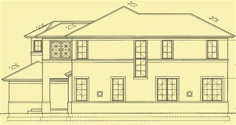 side elevation coastal house plans for a mediterranean style 4 bedroom