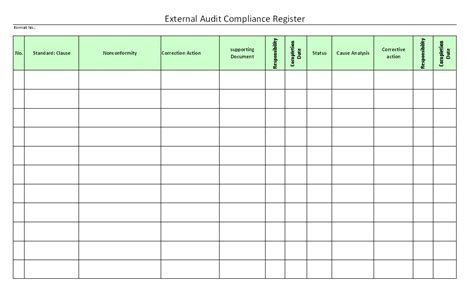 key register template external audit compliance register format sles word