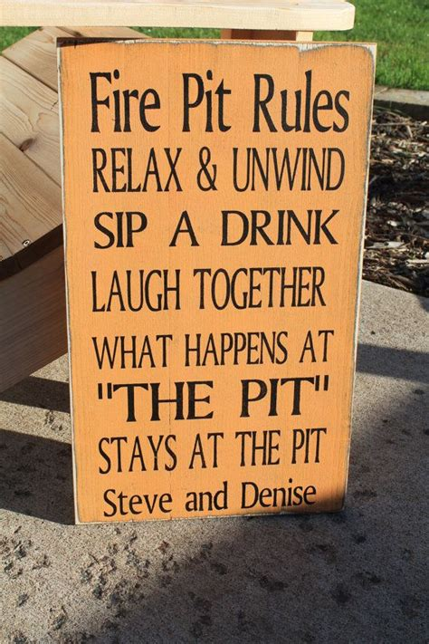 backyard fire pit rules typography word art sign 9x20 by