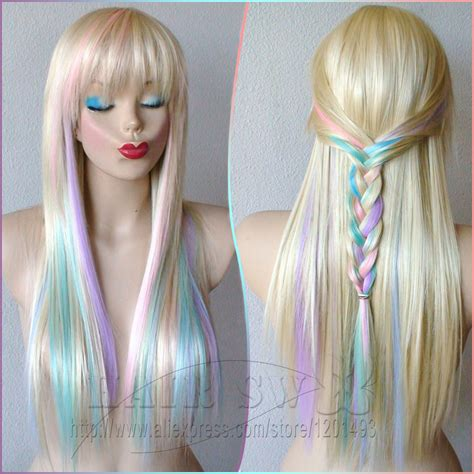 blonde wig colours blonde pastel color highlights rainbow wig fairy princess