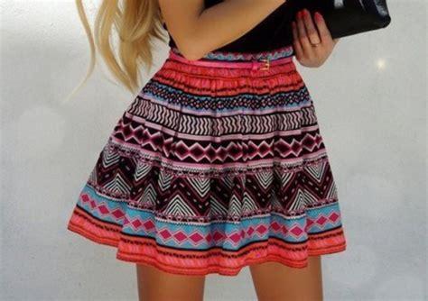 tribal patterned mini skirt skirt hippie high waisted skirt tribal pattern aztec