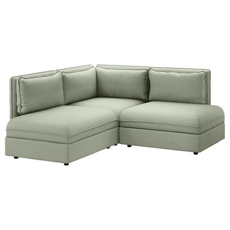 sofa couch vallentuna 3 seat corner sofa hillared green ikea