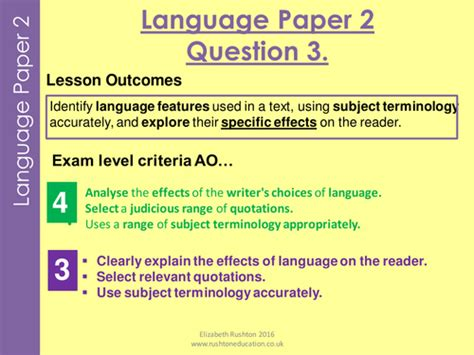 studio aqa gcse 2017 vocab grammar test with aqa new specication gcse english language paper 2 question 3 practice lesson by lizzyrushton