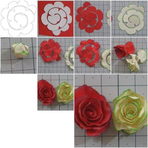 Paper N Craft - how to make simple paper roses flowers step by step diy
