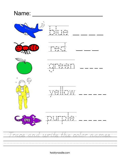 printable tracing color words trace and write the color names worksheet d nealian