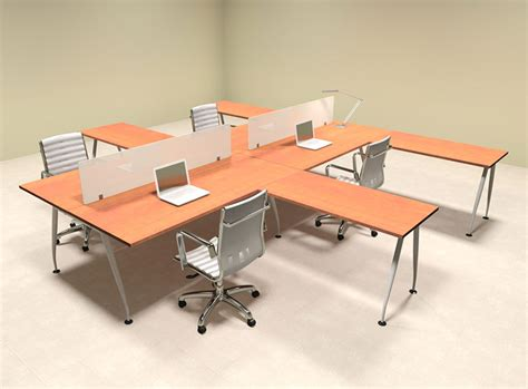 four person l shaped divider office workstation desk set