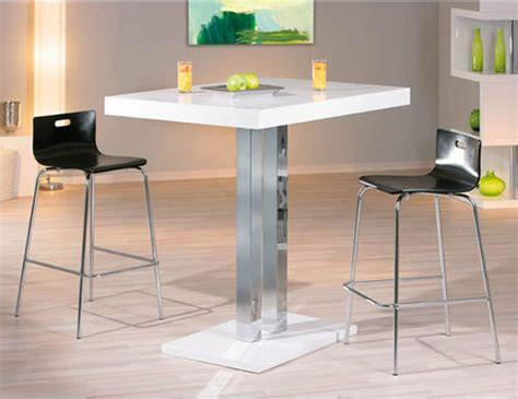 Bar High Kitchen Tables Rasqon Kitchen White Poseur Bar Table White High Gloss Square Top