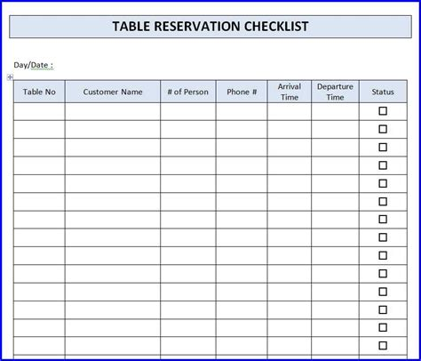 restaurant checklist template restaurant table reservation checklist template ms word