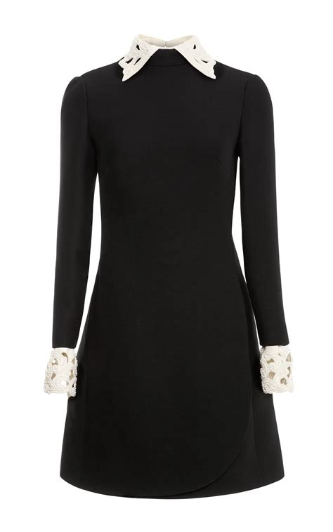 embroidered collared dress valentino wool blend dress with embroidered collar and