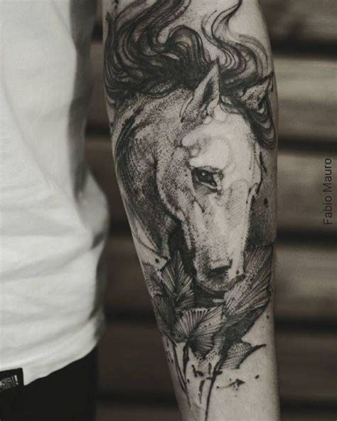 animal tattoo lower arm sketch work horse tattoo on the left inner forearm