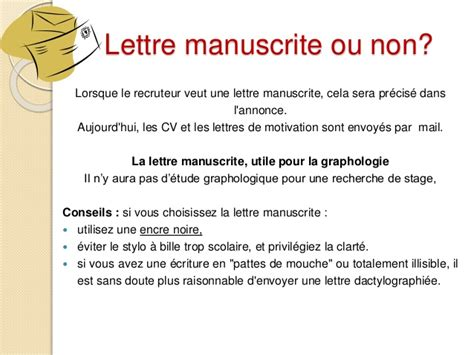 Lettre De Motivation Stage Vous Je Nous Lettre De Motivation Manuscrite Le Dif En Questions
