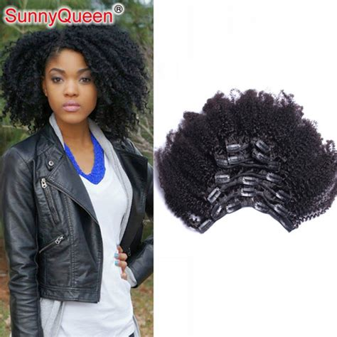 kinky hairpieces for black women clip in human hair extensions for black women brazilian