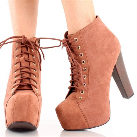 brown high heel booties brown suede lace up platform chunky high heel ankle
