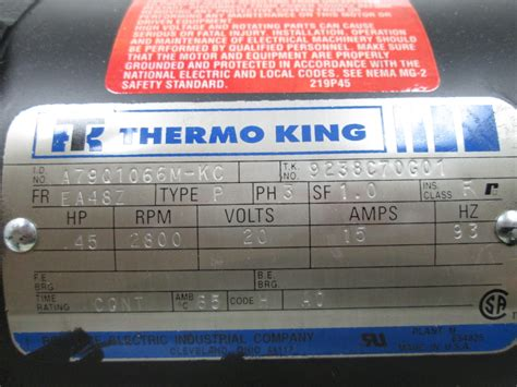 Ac Thermo King thermoking 9238c70g01 a c hvac condensor motor 3 phase