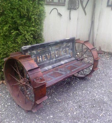 truck tailgate bench seat tailgate bench seat truck vintage steel wheels yard art