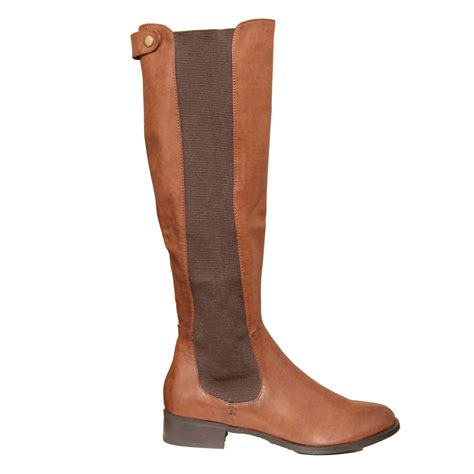 new womens knee high flat chelsea boot size 3 8 ebay