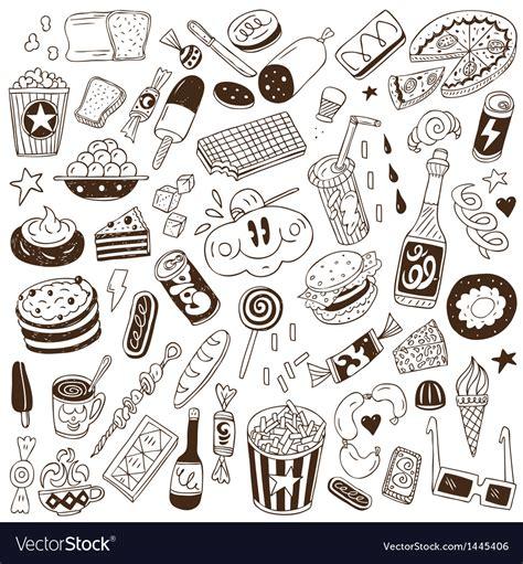 food doodle vector free fast food doodles vector junk vectors