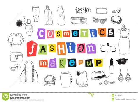 doodle free maker fashion and makeup doodles stock vector image of