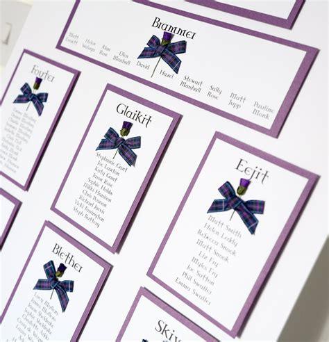 Purple Tartan Thistle Table Plan   Vintage Wedding
