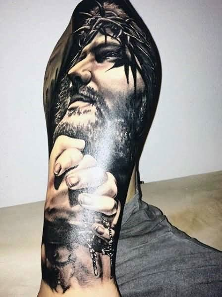 religious leg tattoos for men 60 3d jesus designs for religious ink ideas