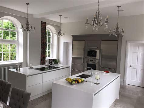 double kitchen islands double kitchen island in matt white fitted in aston