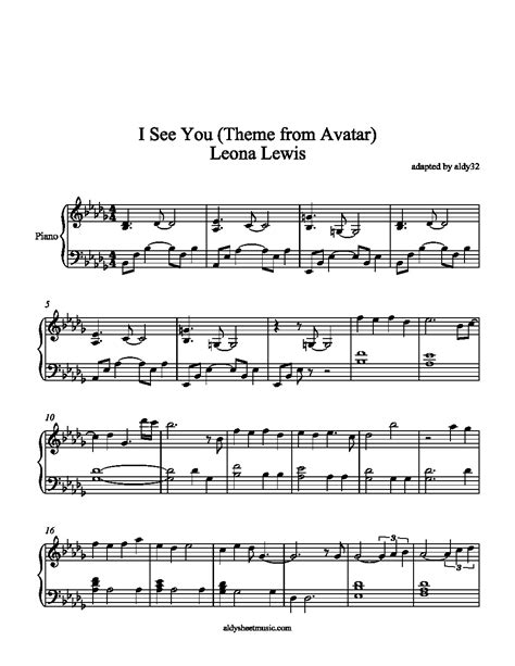 theme music avatar aldy sheet music i see you leona lewis theme from avatar