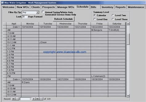 detailed schedule template work order template