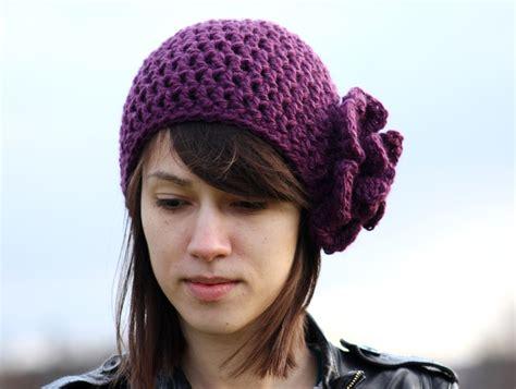 crochet s beanie hat with flower purple by zukas