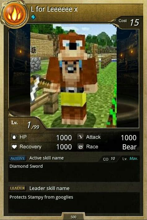 A pokemon type card but Lee Bear | Stampy And Squid ... L For Lee In Real Life
