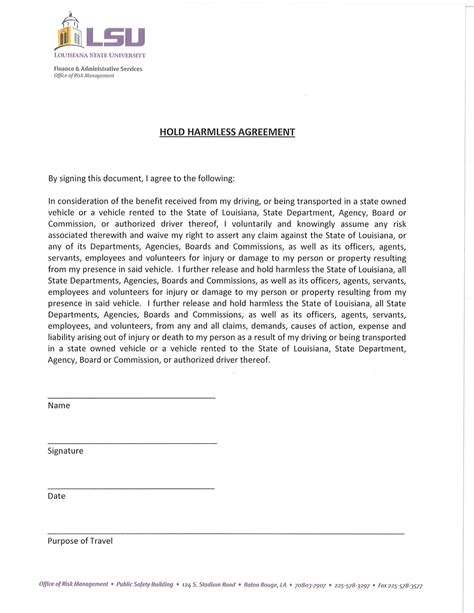 free hold harmless agreement template sle hold harmless agreement free