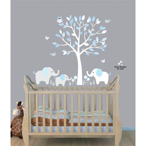 baby room wall decals baby nursery decor elephants below beautiful tree baby boy nursery decals blue theme color owl