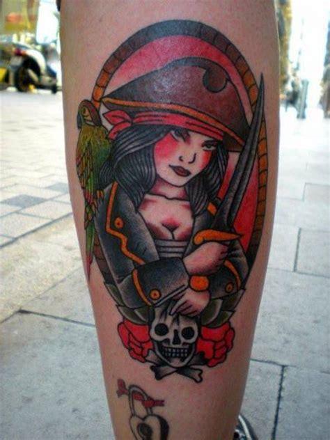 tattoo old school pirate tatuaje ternero old school pirata por tattoo tai