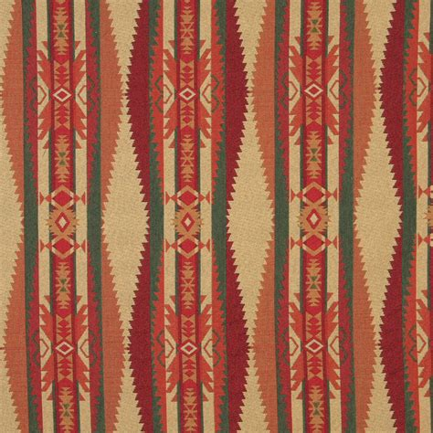 Navajo Upholstery Fabric Beige And Burgundy Southwestern Country Abstract Tapestry