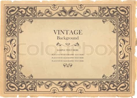 Vintage Memo Template Vintage Hintergrund Altmodisch Zerrissen Blatt Papier Verziert Royal Wiederbelebung Frame