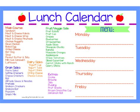 printable lunch schedule lunch calendar wet ones singles diary of a recipe