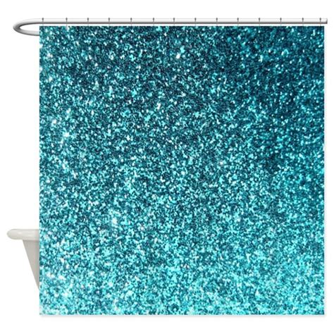 Blue Glitter Curtains Teal Faux Glitter Texture Shower Curtain Matte By Inspirationzstore