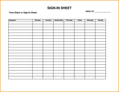 employee sheet template search results for employee sign in sheet template