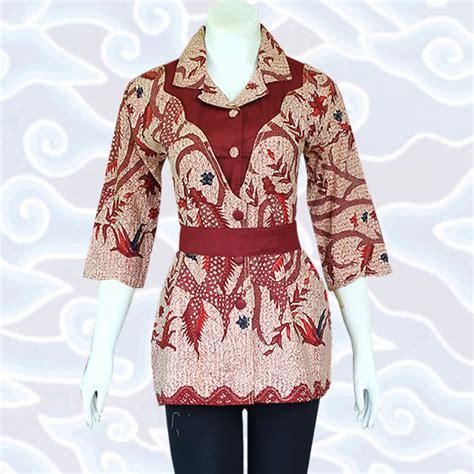 Dress Atasan Blouse Baju Batik Wanita Modern Yeremi Side Arm Top model baju batik wanita modern terkini 187 baju batik