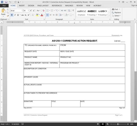 Corrective Action Request Corrective Form Template